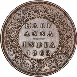 Copper Half Anna Coin of Victoria Queen of Madras Mint of 1862.