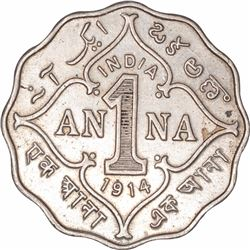 Cupro Nickel One Anna Coin of King George V of Bombay Mint of 1914.