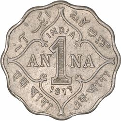 Cupro Nickel One Anna Coin of King George V of Bombay Mint of 1917.