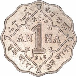 Cupro Nickel One Anna Coin of King George V of Bombay Mint of 1919.