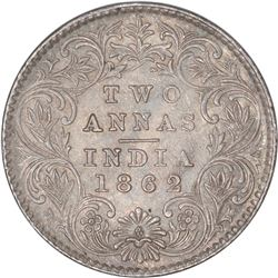 Silver Two Annas Coin of Victoria Queen of Calcutta Mint of 1862.