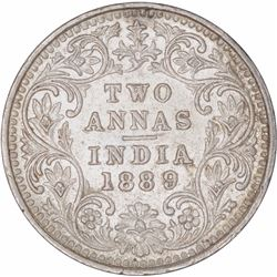 Silver Two Annas Coin of Victoria Empress of Bombay Mint of 1889.