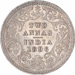 Silver Two Annas Coin of Victoria Empress of Calcutta Mint of 1896.