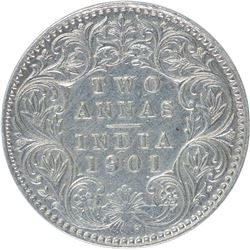 Silver Two Annas Coin of Victoria Empress of 1901.