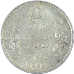 Silver Two Annas Coin of King Edward VII of 1908.