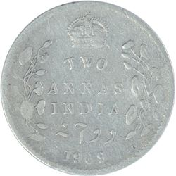 Silver Two Annas Coin of King Edward VII of 1909.