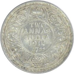 Silver Two Annas Coin of King George V of 1914.