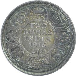 Silver Two Annas Coin of King George V of 1916.