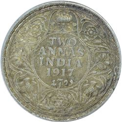 Silver Two Annas Coin of King George V of 1917.