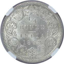 Silver One Quarter Rupee Coin of Victoria Queen of 1862.