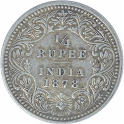 Silver Quarter Rupee Coin of Victoria Empress of Calcutta Mint of 1878.
