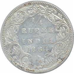 Silver Quarter Rupee Coin of Victoria Empress of Bombay Mint of 1884.