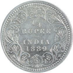 Silver Quarter Rupee Coin of Victoria Empress of 1889.