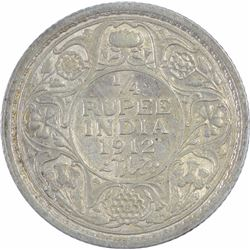 Silver Quarter Rupee Coin of King George V of 1912.
