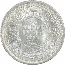 Silver One Quarter Rupee Coin of King George V of 1917.