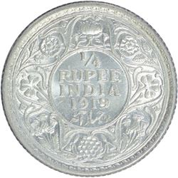 Silver One Quarter Rupee Coin of King George V of 1919.