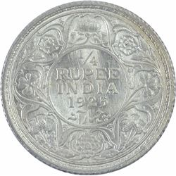 Silver Quarter Rupee Coin of King George V of 1925.