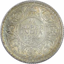 Silver One Quarter Rupee Coin of King George V of 1926.