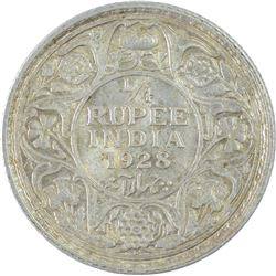 Silver One Quarter Rupee Coin of King George V of 1928.
