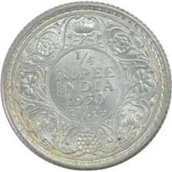 Silver Quarter Rupee Coin of King George V of Calcutta Mint of 1930.