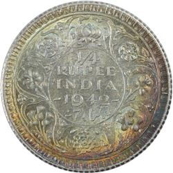 Silver Quarter Rupee Coin of King George VI of 1942.