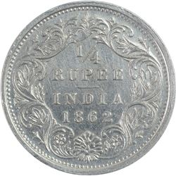 Silver One Quarter Rupee Coins of Victoria Queen of 1862.