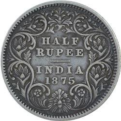 Silver Half Rupee Coin of Victoria Queen of Calcutta Mint of 1875.