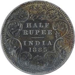Silver Half Rupee Coins of Victoria Empress of Calcutta Mint of 1885.