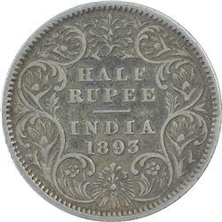 Silver Half Rupee Coin of Victoria Empress of 1893.