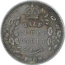 Silver Half Rupee Coin of King Edward VII of 1909.