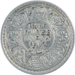 Silver Half Rupee Coin of King George V of 1915.