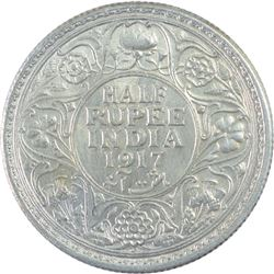 Silver Half Rupee Coin of King George V of 1917.