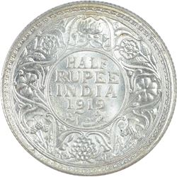 Silver Half Rupee Coin of King George V of 1919.