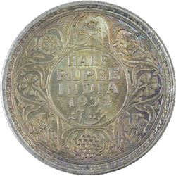 Silver Half Rupee Coin of King George V of 1934.