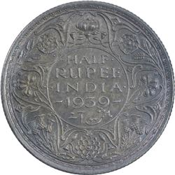 Silver Half Rupee Coin of King George VI of 1939.