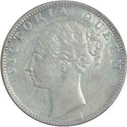 Silver One Rupee Coin of Victoria Queen of Bombay Mint of 1840.