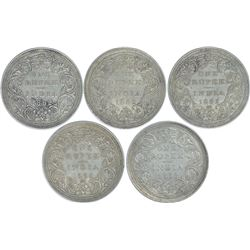 Silver One Rupee Coins of Victoria Queen of 1862.