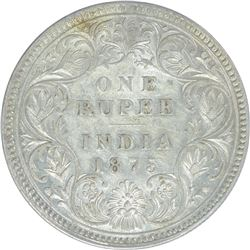 Silver One Rupee Coin of Victoria Queen of Calcutta Mint of 1875.