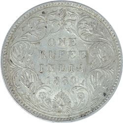 Silver One Rupee Coin of Victoria Empress of 1880.