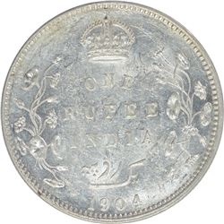 Silver One Rupee Coin of King Edward VII of 1904.