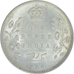 Silver One Rupee Coin of King Edward VII of Calcutta Mint of 1906.