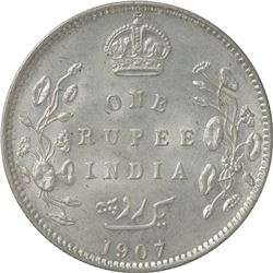 Silver One Rupee Coin of King Edward VII of Calcutta Mint of 1907.