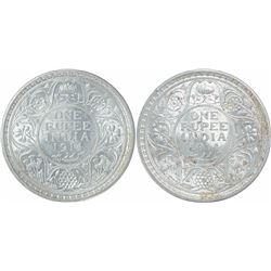 Silver One Rupee Coins of King George V of 1914.