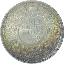 Silver One Rupee Coin of King George V of 1920.