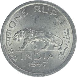 Nickel One Rupee Coin of King George VI of Lahore Mint of 1947.