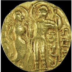 Very Rare Gold Dinar Coin of Samudragupta of Gupta Dynasty of King, Queen and Lion to Left Type.