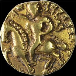 Extremely Rare Gold Dinar Coin of Kumaragupta I of Gupta Dynasty of Horse Man Type.
