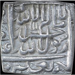 Silver Square One Rupee Coin of Akbar of Urdu Zafar Qarin Mint.