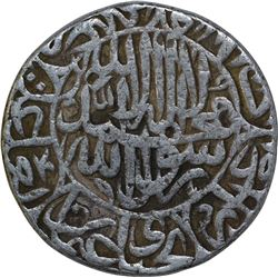 Silver One Rupee coin of Akbar of Hadrat Dehli Mint.