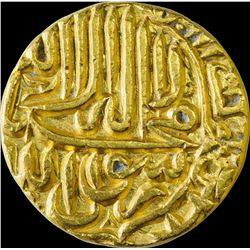 Gold Mohur Coin of Akbar of Jaunpur Mint.